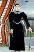 Curtains Framed Prints - Portrait of a Woman Framed Print by Henri Rousseau