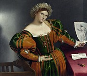 Costume Metal Prints - Portrait of a Woman Inspired by Lucretia Metal Print by Lorenzo Lotto