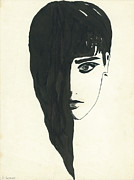 Indian Ink Drawings Prints - Portrait of a woman  Print by Valeria Jye
