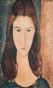 Brown Hair Metal Prints - Portrait of a Young Girl Metal Print by Amedeo Modigliani
