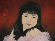 Girls In Pink Prints - Portrait of a Young Girl Print by Reb Frost