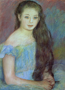 Indoors Painting Framed Prints - Portrait of a Young Girl with Blue Eyes Framed Print by Pierre Auguste Renoir