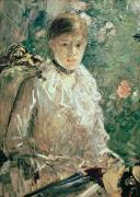 Morisot; Berthe (1841-95) Painting Metal Prints - Portrait of a Young Lady Metal Print by Berthe Morisot