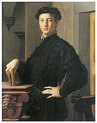 Bronzino Agnolo Framed Prints - Portrait of a Young Man Framed Print by Agnolo Bronzino