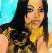 Young Woman Pastels Prints - Portrait of a young woman and her puppy 2 Print by Amanda Dinan