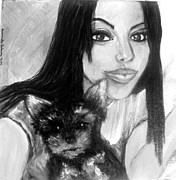 Young Woman Pastels - Portrait of a young woman and her puppy by Amanda Dinan