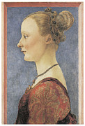 Young Woman Framed Prints - Portrait of a Young Woman Framed Print by Antonio Del Pollaiuolo