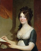 Smile Painting Framed Prints - Portrait of a Young Woman Framed Print by Gilbert Stuart