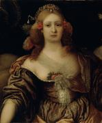 Cleavage Posters - Portrait of a Young Woman  Poster by Girolamo Forabosco