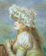 Woman In A Dress Metal Prints - Portrait of a Young Woman in a Lace Hat Metal Print by Pierre Auguste  Renoir