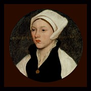 Coif Framed Prints - Portrait of a Young Woman with a White Coif - 1541 Framed Print by Hans Holbein the Younger