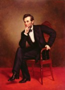 Chin On Hand Paintings - Portrait of Abraham Lincoln by George Peter Alexander Healy