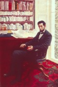 President Lincoln Paintings - Portrait of Abraham Lincoln by Howard Pyle