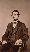 Seated Metal Prints - Portrait of Abraham Lincoln Metal Print by Mathew Brady