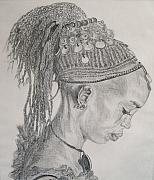 Ethnic Drawings Posters - Portrait of African Girl Poster by Nancy Rucker