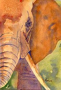 Tusk Painting Posters - Portrait of an elephant Poster by K Lim