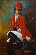 Afro Pastels Posters - Portrait of an Equestrian Poster by Harvie Brown