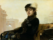 Carriage Paintings - Portrait of an Unknown Woman by Ivan Nikolaevich Kramskoy