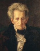 Grey Framed Prints - Portrait of Andrew Jackson Framed Print by George Peter Alexander Healy