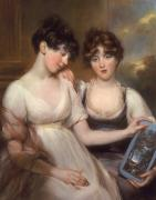 Pastel Portraits Posters - Portrait of Anne and Maria Russell Poster by John Russell