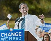 Politicians  Painting Originals - Portrait of Barack Obama The Change We Need by Christopher Oakley