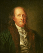 Politician Painting Posters - Portrait of Benjamin Franklin Poster by George Peter Alexander Healy