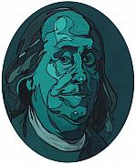 Franklin Painting Posters - Portrait of Benjamin Franklin Poster by John Gibbs