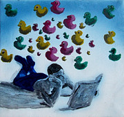 Full-length Portrait Painting Prints - Portrait of Boy Reading Large Book While Laying on Floor and Fantasizing About Ducks Floating Kids Print by M Zimmerman MendyZ