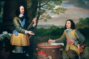 Coat Of Arms Prints - Portrait of Charles I and Sir Edward Walker Print by English School