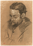 Edgar Drawings - Portrait of Deigo Martelli by Edgar Degas