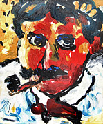 Hair Abstract Art Paintings - Portrait of Derain After Vlaminck by Alexandra Jordankova