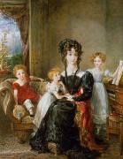 Portrait Of Elizabeth Lea And Her Children Print by John Constable