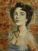 Celebrity Pastels Framed Prints - portrait of Elizabeth Taylor Framed Print by Agnes Varnagy