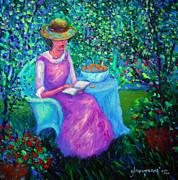 New Britain Painting Posters - Portrait of Ellsabeth in her Garden Poster by Glenna McRae