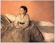 Portrait Of A Woman Framed Prints - Portrait of Estelle Musson de Gas Framed Print by Edgar Degas