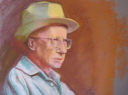 Local Pastels Posters - Portrait of Farmer Brown Poster by Pamela Preciado