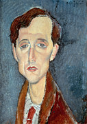 Visage Prints - Portrait of Franz Hellens Print by Modigliani