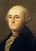 Us Founding Father Framed Prints - Portrait of George Washington Framed Print by Gilbert Stuart