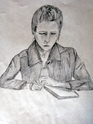 Notes Drawings - Portrait of Haley Golz by Jana Barros