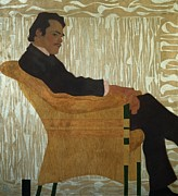 Lounging Painting Posters - Portrait of Hans Massmann Poster by Egon Schiele