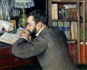 Portrait Of Man Framed Prints - Portrait of Henri Cordier Framed Print by Gustave Caillebotte