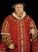 Monarchs Posters - Portrait of Henry VIII Poster by Hans Holbein the Younger