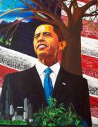 Barack Obama Painting Posters - Portrait of Hope Poster by Susan M Woods