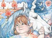 Zodiac Drawings - Portrait of Isobel and Unicorn by Patricia Ariel