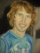Singer Pastels Originals - Portrait of James Blunt II. by Agnes Varnagy