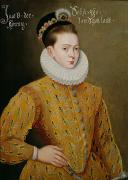 Collar Painting Prints - Portrait of James I of England and James VI of Scotland  Print by Adrian Vanson