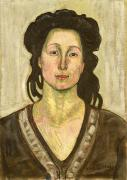 Brunette Prints - Portrait of Jeanne Cerani Print by  Ferdinand Hodler
