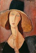 July Painting Metal Prints - Portrait of Jeanne Hebuterne in a large hat Metal Print by Amedeo Modigliani