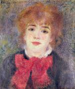 Portrait Of Woman Metal Prints - Portrait of Jeanne Samary Metal Print by Renoir