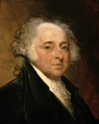 1826 Framed Prints - Portrait of John Adams Framed Print by Gilbert Stuart